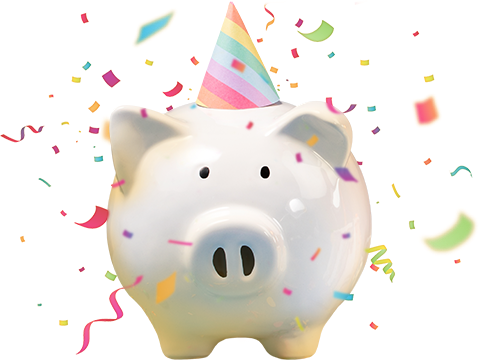 Piggy Bank wearing a party hat