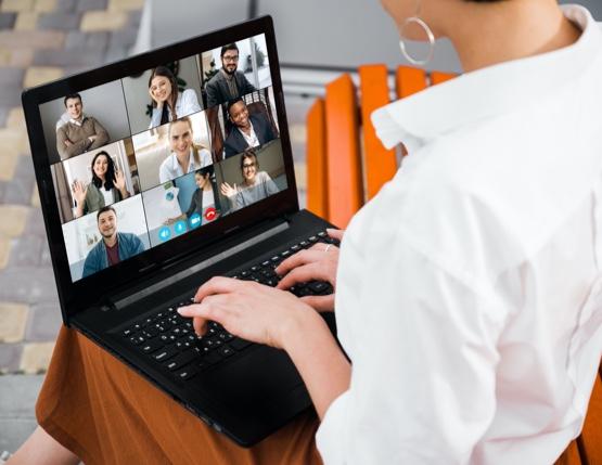 woman holding a virtual meeting