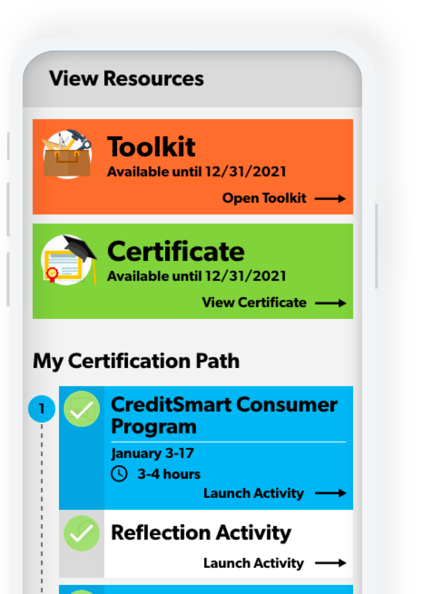 mobile image with credit smart resource information