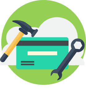 icon of a credit card with tools