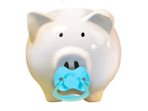 piggy bank with pacifier
